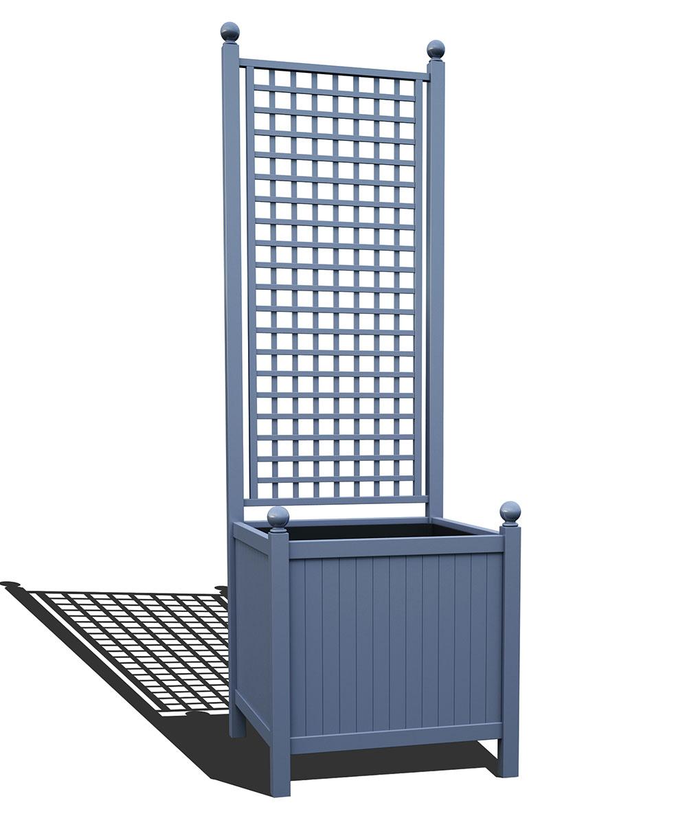 R24-A-SHD-Versailler Park Metall Pflanzkübel mit Rankgitter in RAL 5014 pigeon blue