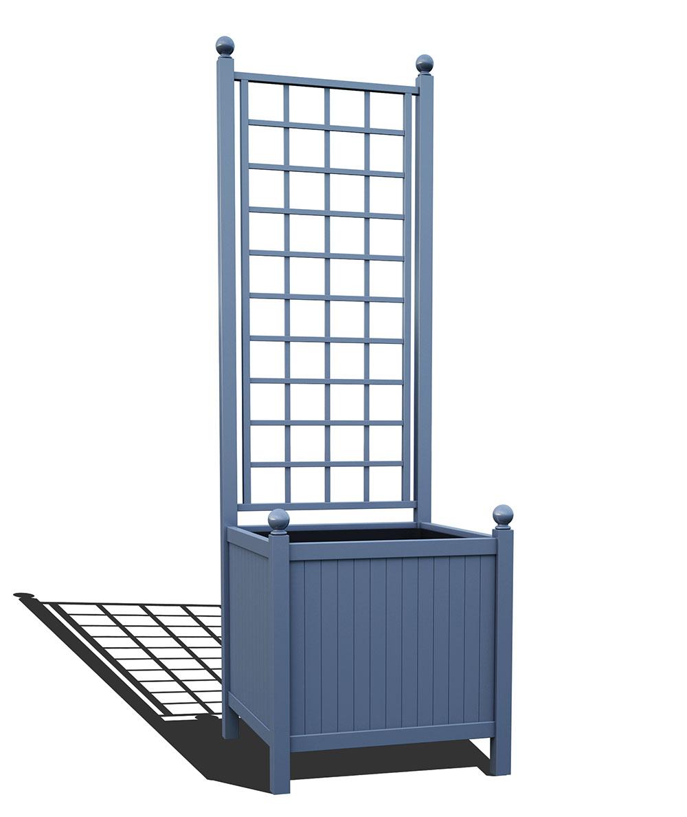 R24-A-SLD-Versailler Park Metall Pflanzkübel mit Rankgitter in RAL 5014 pigeon blue