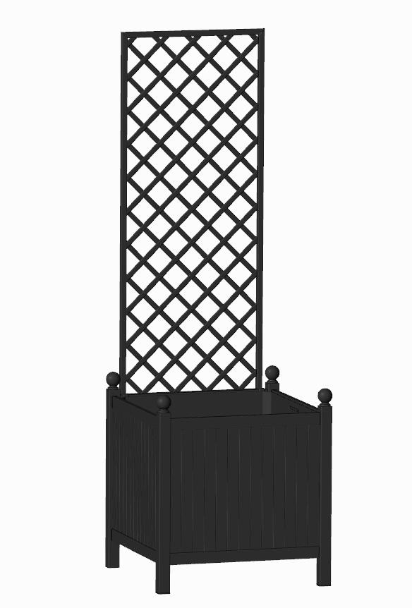 R24-Y-DHD-Versailler Park Kübel mit abnehmbaren Rankgitter RAL 9005 Schwarz