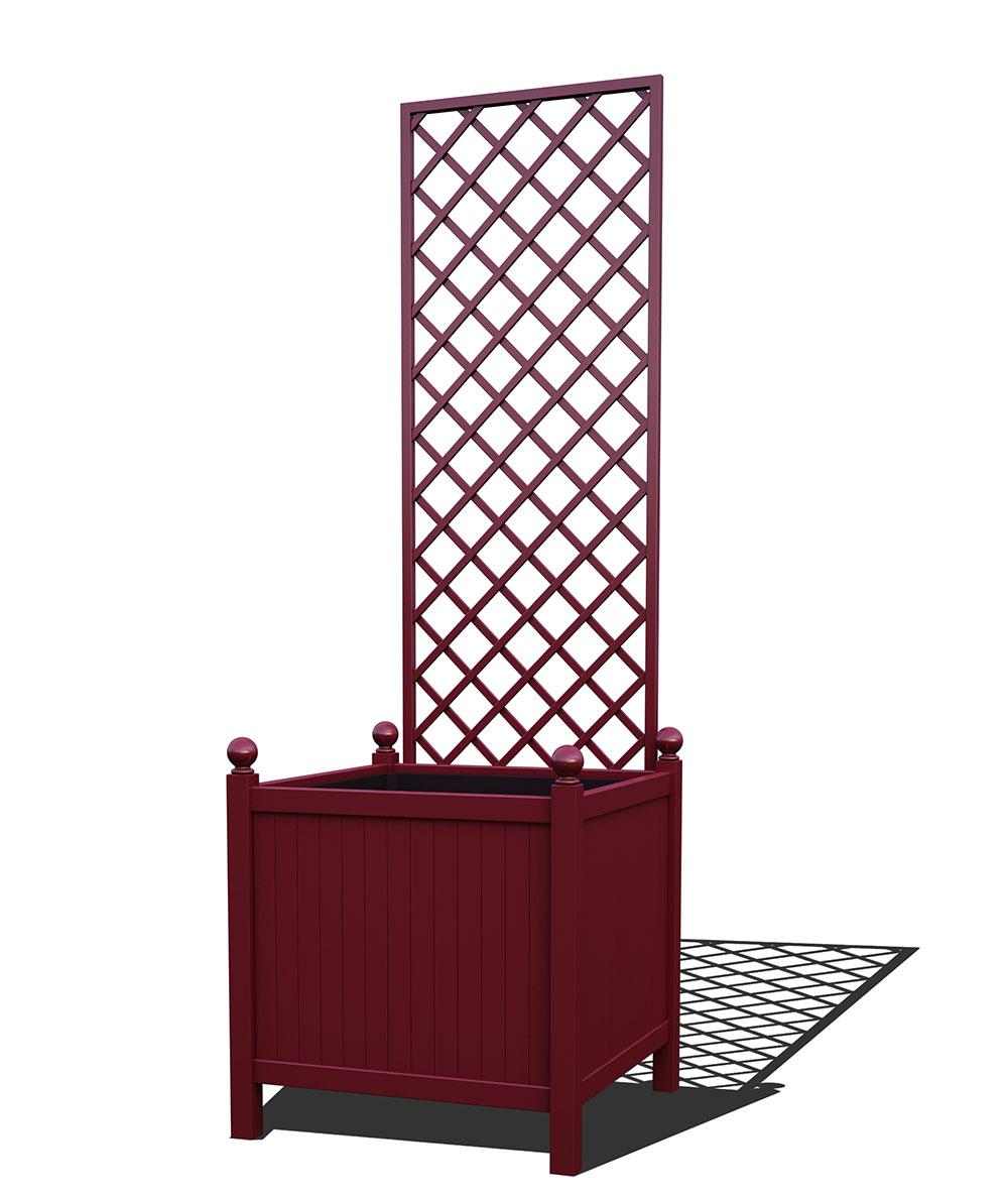 R24-Y-DHD-Versailler Park Metall Pflanzkübel mit abnehmbaren Rankgitter in RAL 3005 wine red