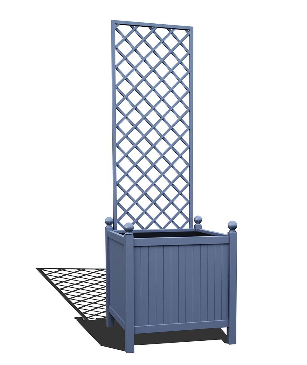 R24-Y-DHD-Versailler Park Metall Pflanzkübel mit abnehmbaren Rankgitter in RAL 5014 pigeon blue
