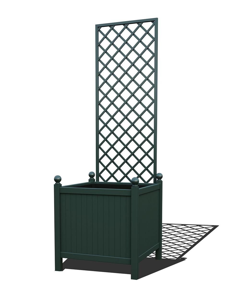 R24-Y-DHD-Versailler Park Metall Pflanzkübel mit abnehmbaren Rankgitter in RAL 6012 black green