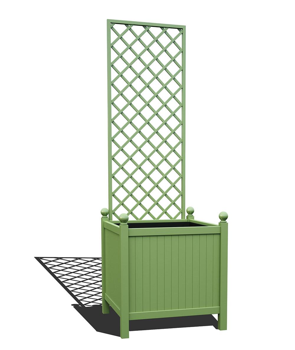 R24-Y-DHD-Versailler Park Metall Pflanzkübel mit abnehmbaren Rankgitter in RAL 6021 pale green