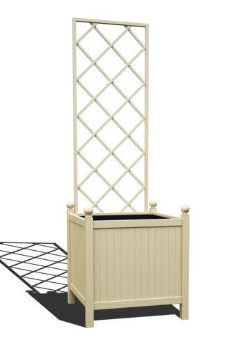 R24-Y-DLD-Versailler Park Metall Pflanzkübel mit abnehmbaren Rankgitter in RAL 1015 light ivory