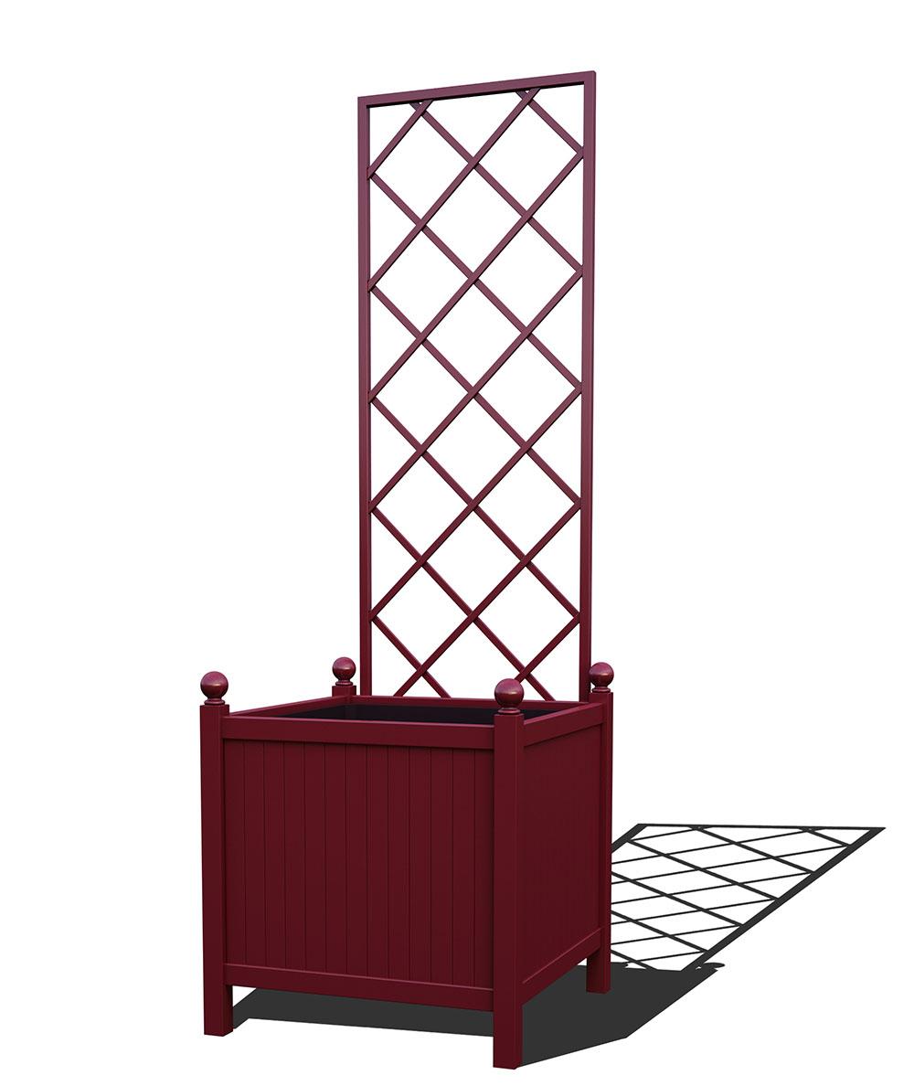 R24-Y-DLD-Versailler Park Metall Pflanzkübel mit abnehmbaren Rankgitter in RAL 3005 wine red