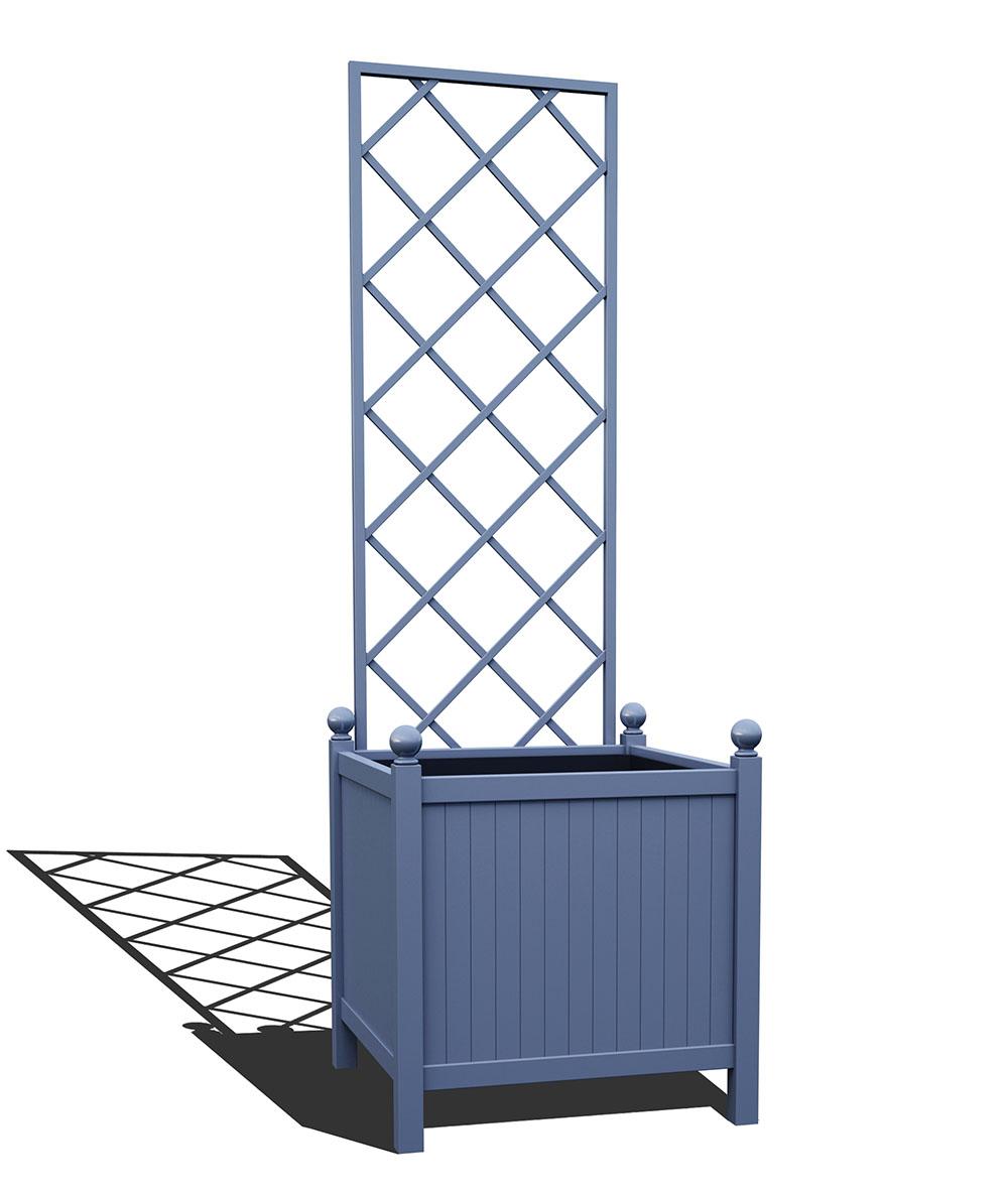 R24-Y-DLD-Versailler Park Metall Pflanzkübel mit abnehmbaren Rankgitter in RAL 5014 pigeon blue