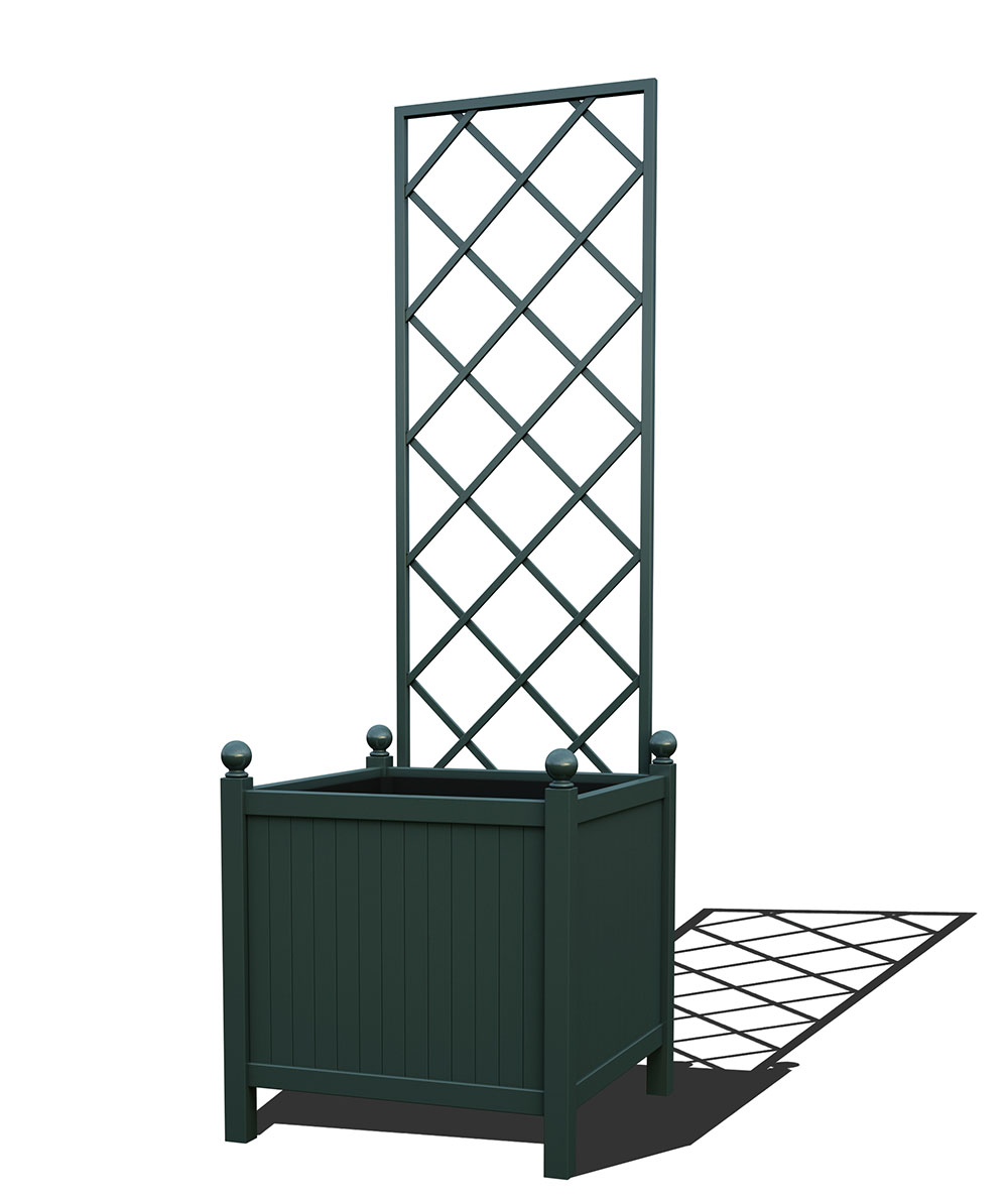 R24-Y-DLD-Versailler Park Metall Pflanzkübel mit abnehmbaren Rankgitter in RAL 6012 black green