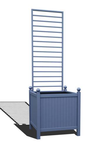 R24-Y-LHD-Versailler Park Metall Pflanzkübel mit abnehmbaren Rankgitter in RAL 5014 pigeon blue