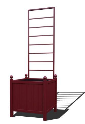 R24-Y-LLD-Versailler Park Metall Pflanzkübel mit abnehmbaren Rankgitter in RAL 3005 wine red