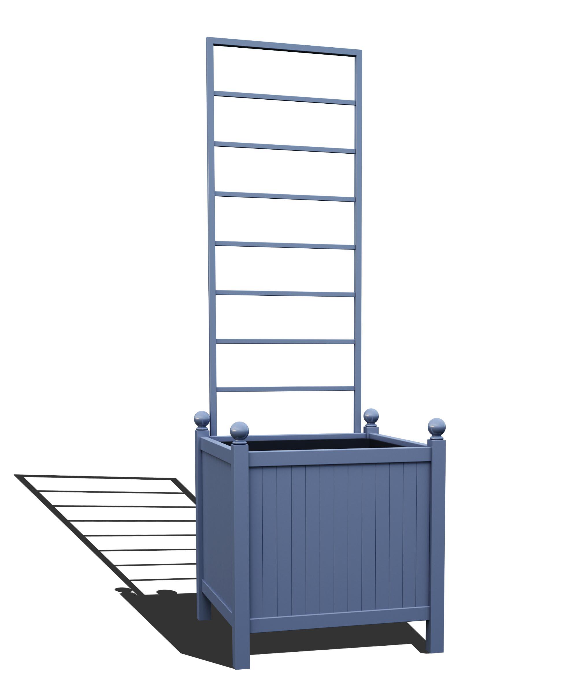 R24-Y-LLD-Versailler Park Metall Pflanzkübel mit abnehmbaren Rankgitter in RAL 5014 pigeon blue