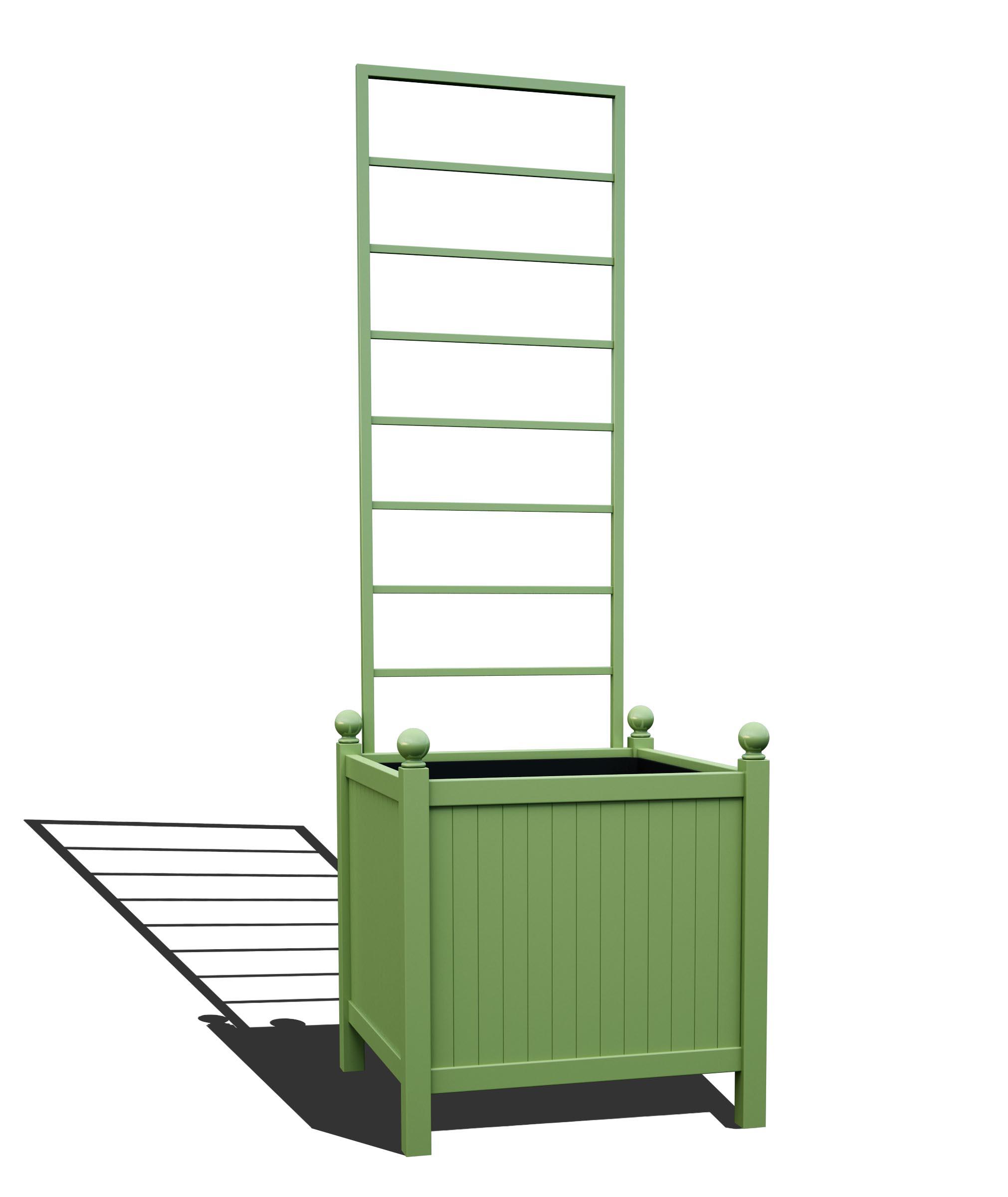R24-Y-LLD-Versailler Park Metall Pflanzkübel mit abnehmbaren Rankgitter in RAL 6021 pale green