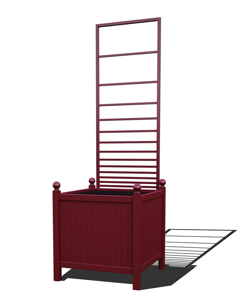 R24-Y-PHL-Versailler Park Metall Pflanzkübel mit abnehmbaren Rankgitter in RAL 3005 wine red