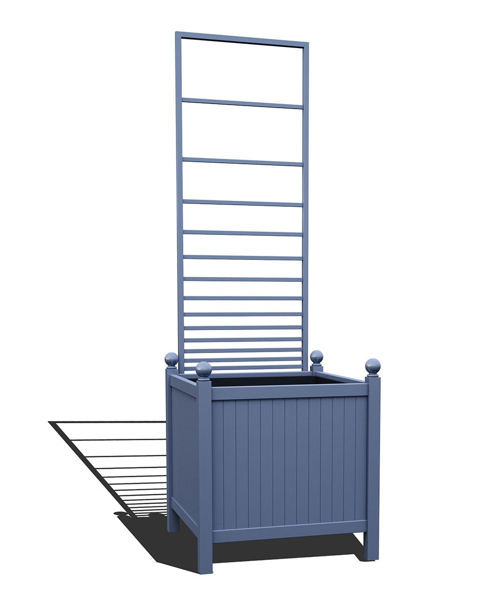 R24-Y-PHL-Versailler Park Metall Pflanzkübelmit abnehmbaren Rankgitter in RAL 5014 pigeon blue