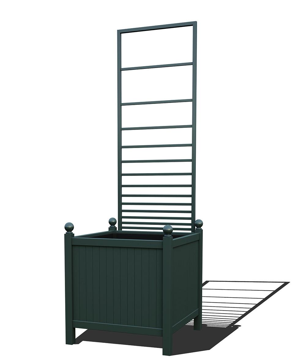 R24-Y-PHL-Versailler Park Metall Pflanzkübel mit abnehmbaren Rankgitter in RAL 6012 black green