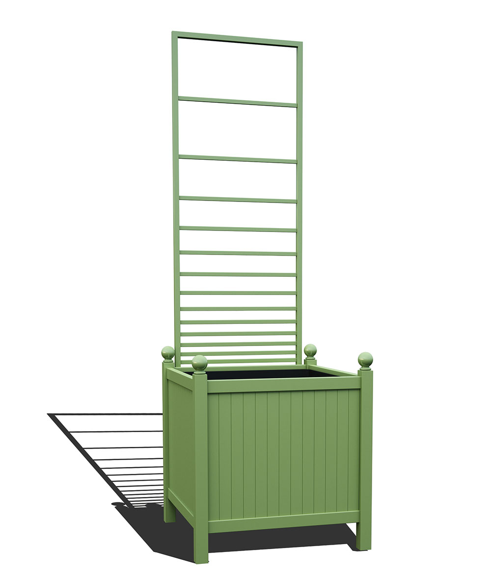 R24-Y-PHL-Versailler Park Metall Pflanzkübel mit abnehmbaren Rankgitter in RAL 6021 pale green