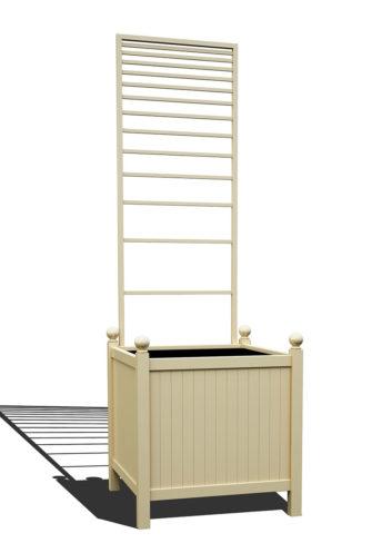 R24-Y-PLH-Versailler Park Metall Pflanzkübel mit abnehmbaren Rankgitter in RAL 1015 light ivory