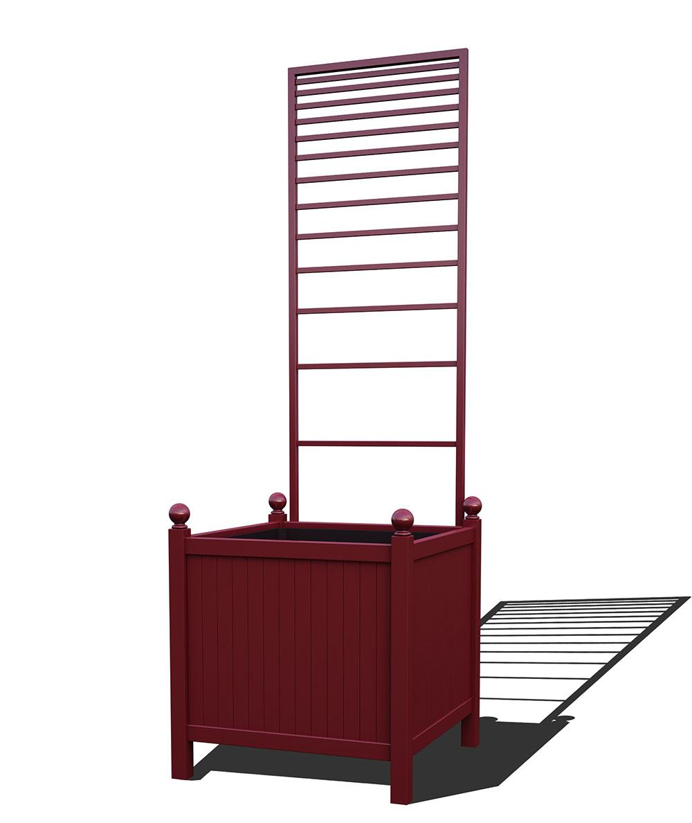 R24-Y-PLH-Versailler Park Metall Pflanzkübel mit abnehmbaren Rankgitter in RAL 3005 wine red
