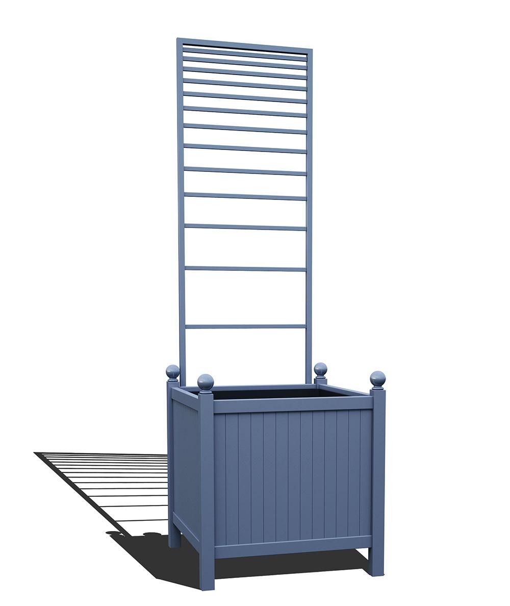 R24-Y-PLH-Versailler Park Metall Pflanzkübel mit abnehmbaren Rankgitter in RAL 5014 pigeon blue