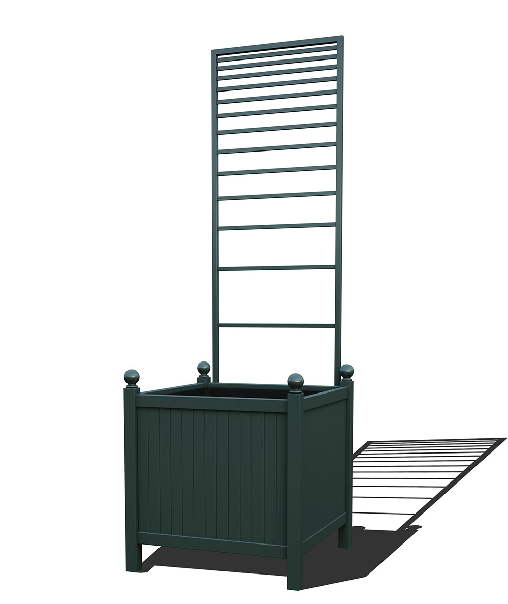 R24-Y-PLH-Versailler Park Metall Pflanzkübel mit abnehmbaren Rankgitter in RAL 6012 black green