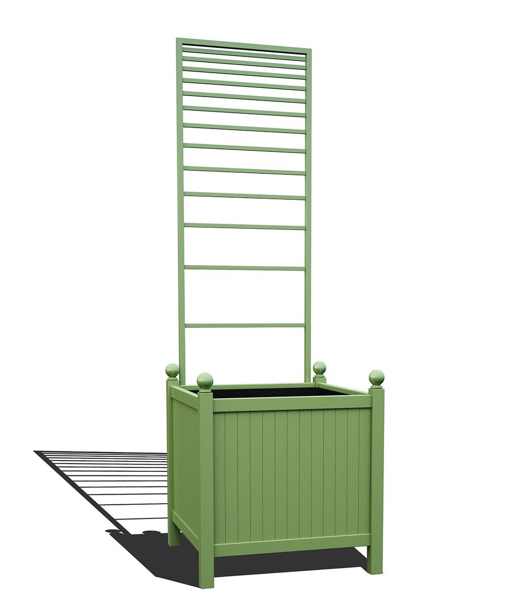 R24-Y-PLH-Versailler Park Metall Pflanzkübel mit abnehmbaren Rankgitter in RAL 6021 pale green