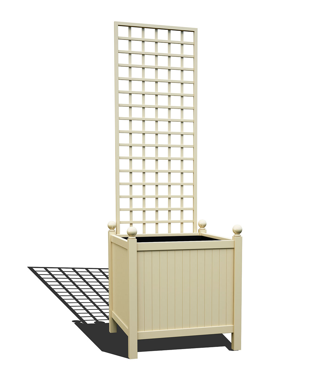 R24-Y-SHD-Versailler Park Metall Pflanzkübel mit abnehmbaren Rankgitter in RAL 1015 light ivory