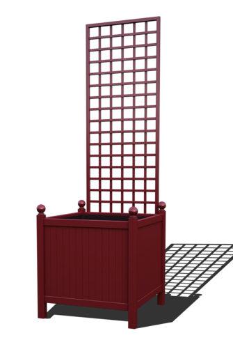 R24-Y-SHD-Versailler Park Metall Pflanzkübel mit abnehmbaren Rankgitter in RAL 3005 wine red