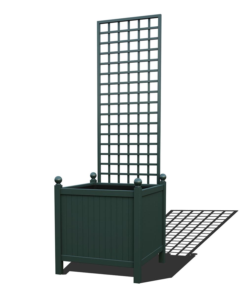 R24-Y-SHD-Versailler Park Metall Pflanzkübel mit abnehmbaren Rankgitter in RAL 6012 black green