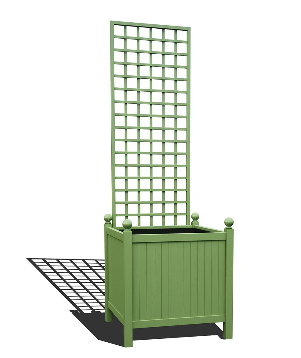 R24-Y-SHD-Versailler Park Metall Pflanzkübelmit abnehmbaren Rankgitter in RAL 6021 pale green