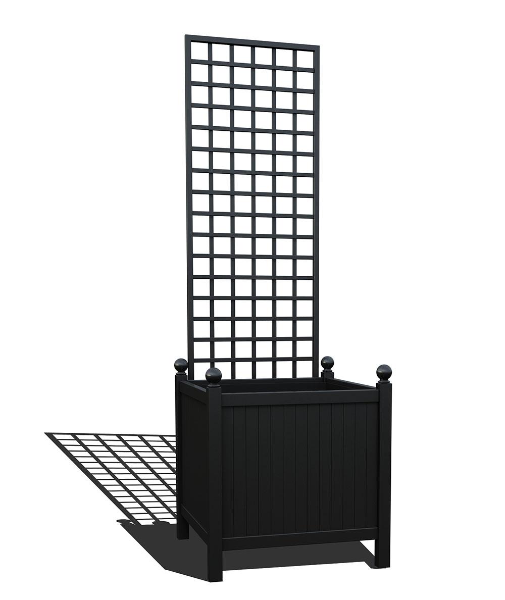 R24-Y-SHD-Versailler Park Metall Pflanzkübel mit abnehmbaren Rankgitter in RAL 9005 jet black