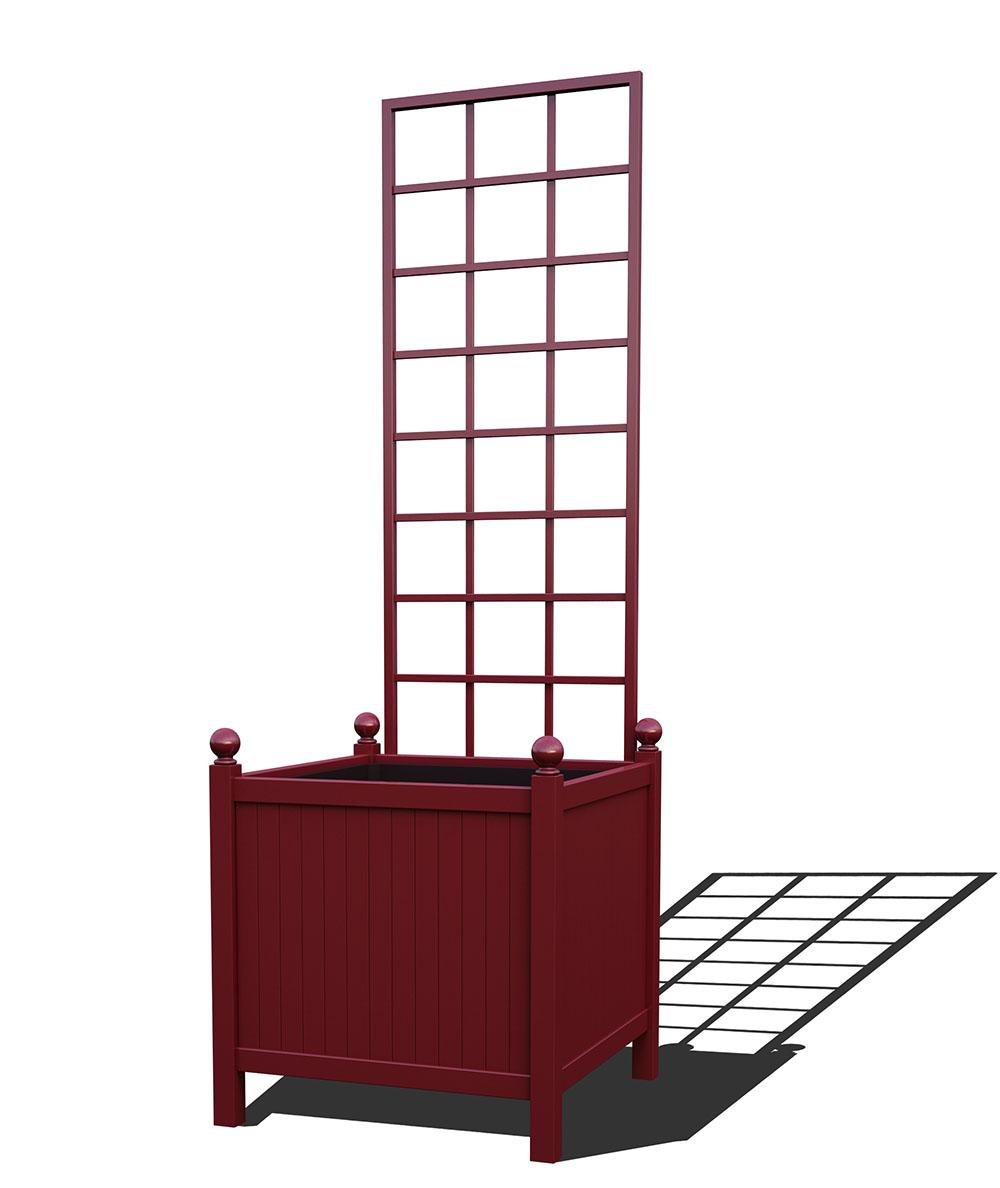 R24-Y-SLD-Versailler Park Metall Pflanzkübel mit abnehmbaren Rankgitter in RAL 3005 wine red