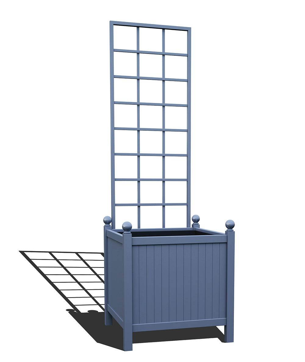 R24-Y-SLD-Versailler Park Metall Pflanzkübel mit abnehmbaren Rankgitter in RAL 5014 pigeon blue