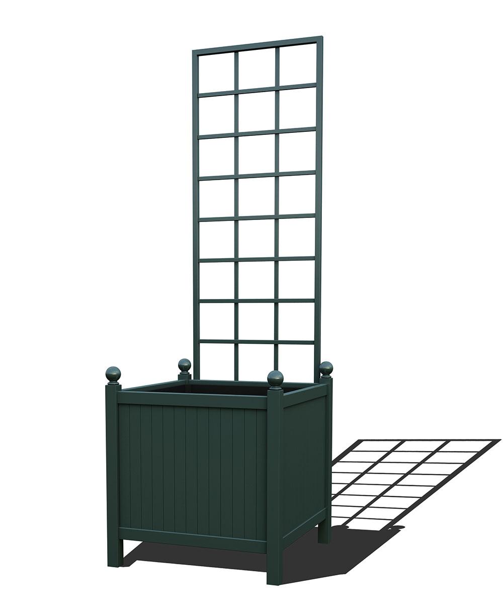 R24-Y-SLD-Versailler Park Metall Pflanzkübel mit abnehmbaren Rankgitter in RAL 6012 black green