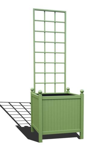 R24-Y-SLD-Versailler Park Metall Pflanzkübel mit abnehmbaren Rankgitter in RAL 6021 pale green