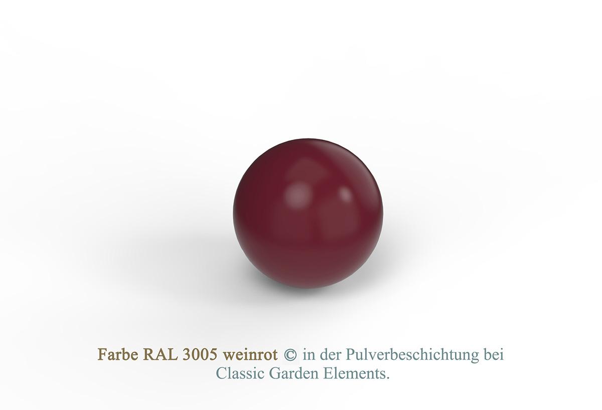 Farbe RAL 3005 weinrot in der Pulverbeschichtung bei Classic Garden Elements.