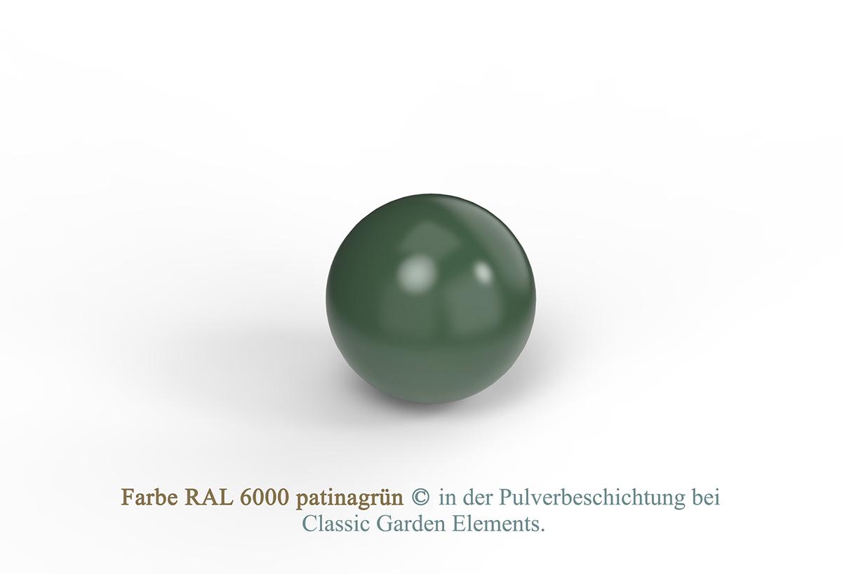Farbe RAL 6000 patinagrün in der Pulverbeschichtung bei Classic Garden Elements.
