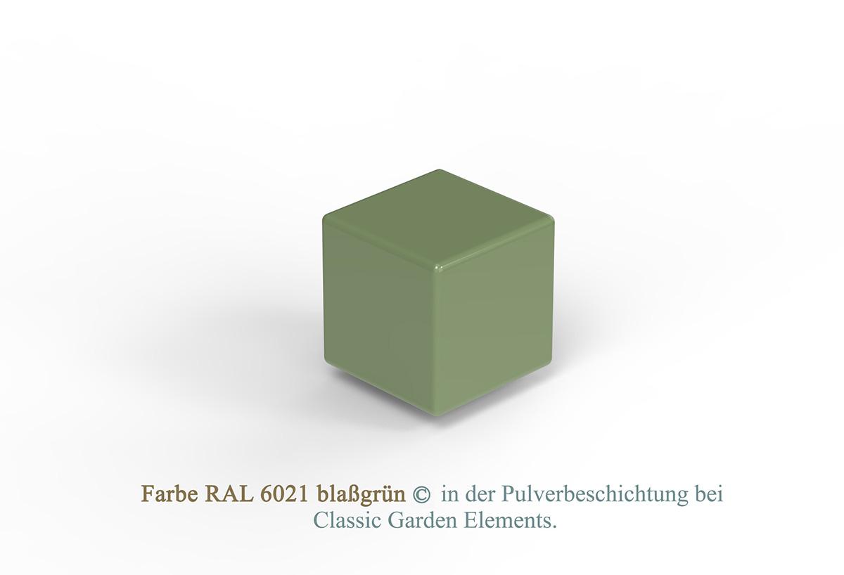 Farbe RAL 6021 blaßgrün in der Pulverbeschichtung bei Classic Garden Elements.