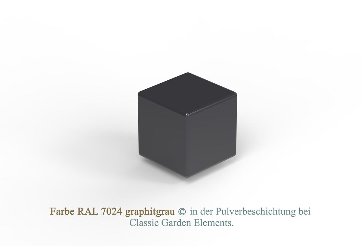 Farbe RAL 7024 graphitgrau in der Pulverbeschichtung bei Classic Garden Elements.