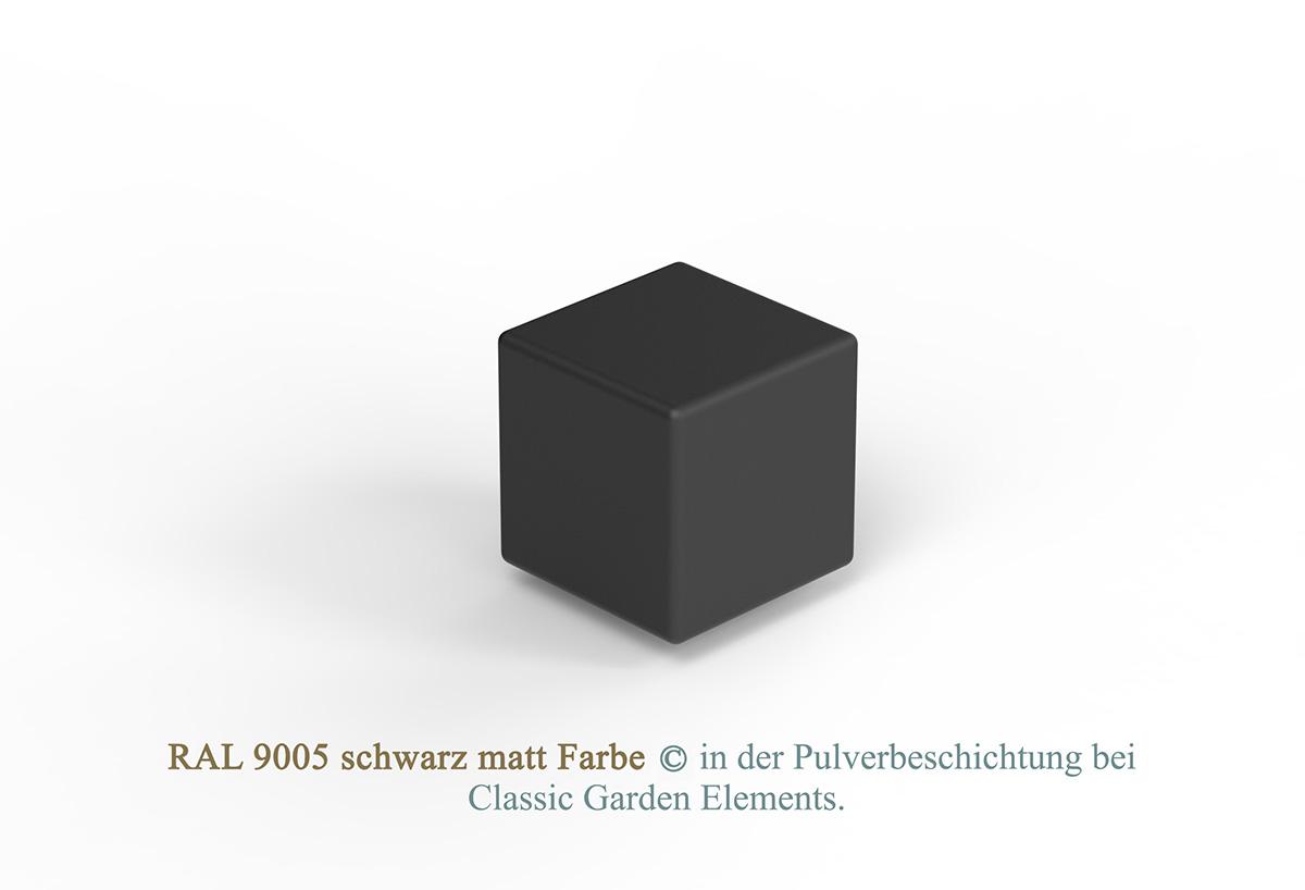 RAL 9005 schwarz matt Farbe in der Pulverbeschichtung bei Classic Garden Elements.