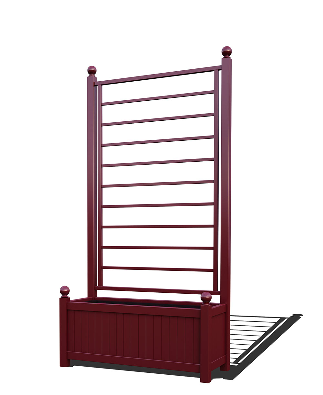 R17-A-LLD-Langer Metall Pflanzkübel mit integriertem Rankgitter in RAL 3005 wine red