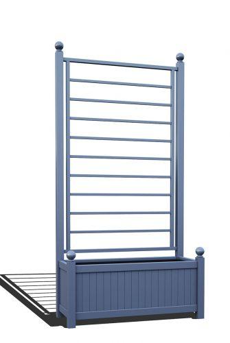 R17-A-LLD-Langer Metall Pflanzkübel mit integriertem Rankgitter in RAL 5014 pigeon blue