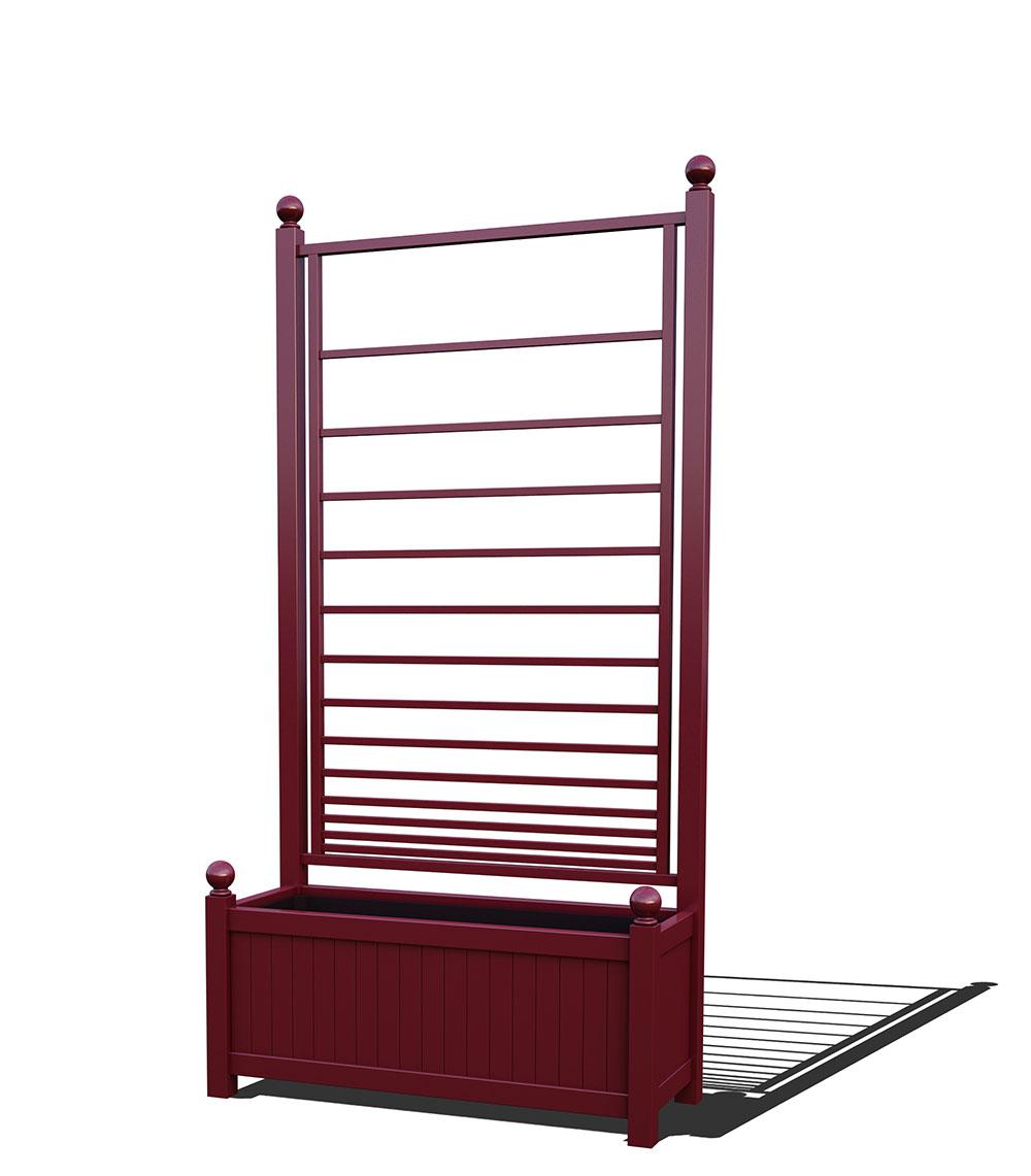 R17-A-PHL-Langer Metall Pflanzkübel mit integriertem Rankgitter in RAL 3005 wine red