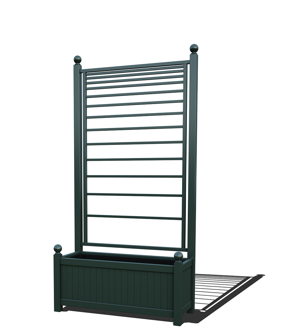 R17-A-PLH-Langer Metall Pflanzkübel mit integriertem Rankgitter in RAL 6012 black green