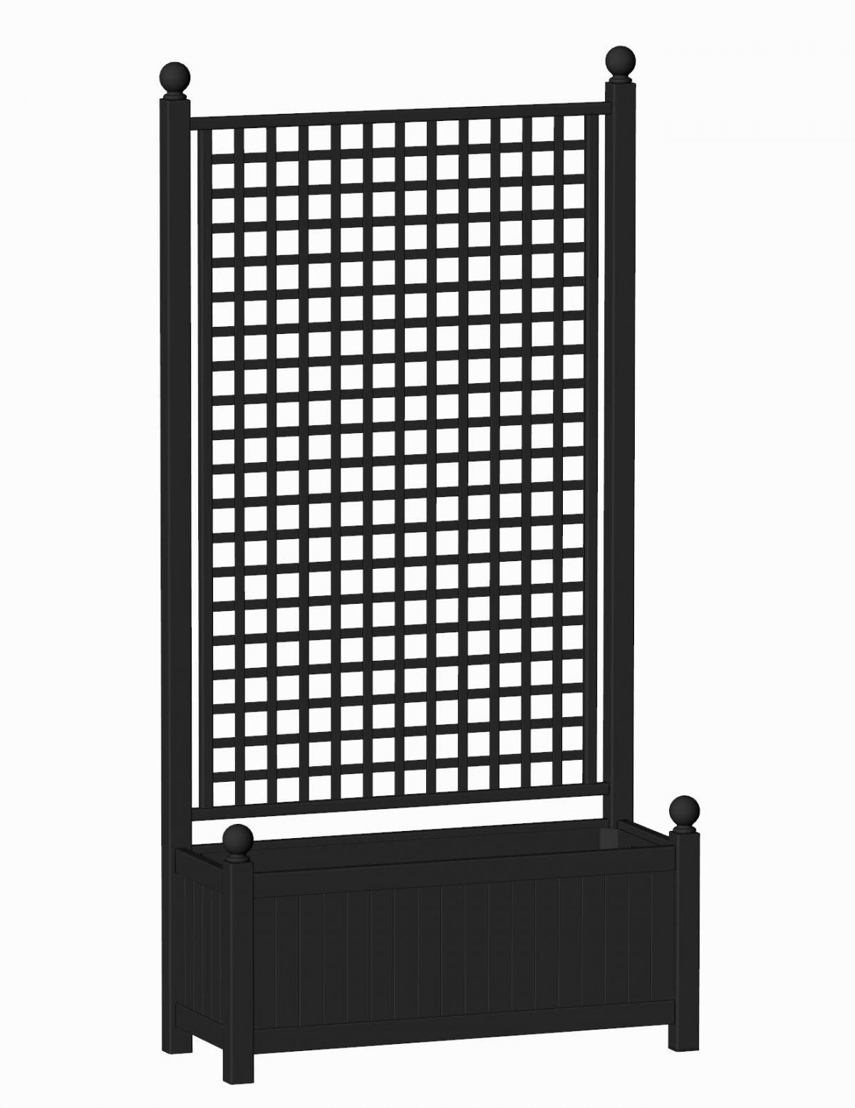 R17-A-SHD-Langer Kübel mit integriertem Rankgitter RAL 9005 Schwarz