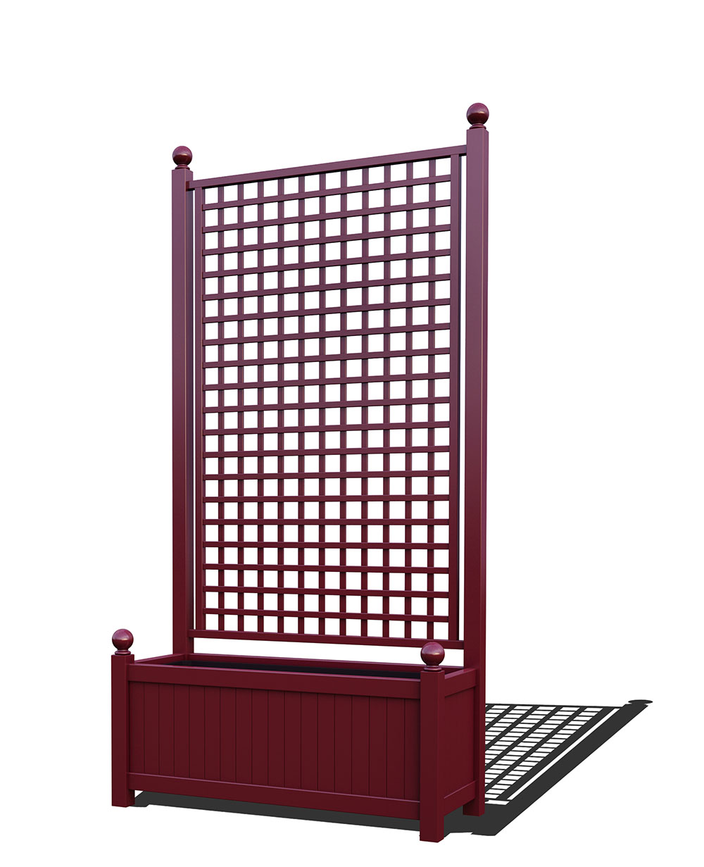 R17-A-SHD-Langer Metall Pflanzkübel mit integriertem Rankgitter in RAL 3005 wine red