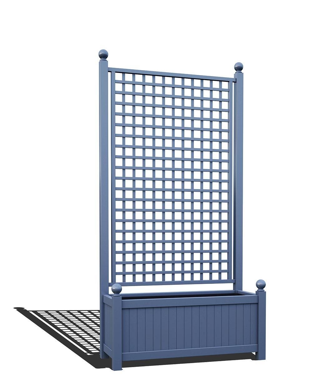 R17-A-SHD-Langer Metall Pflanzkübel mit integriertem Rankgitter in RAL 5014 pigeon blue