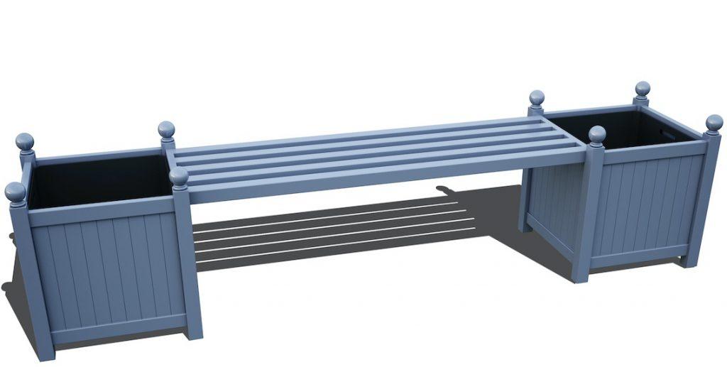 Zwei Pflanzkuebel Metall Blau mit Gartenbank