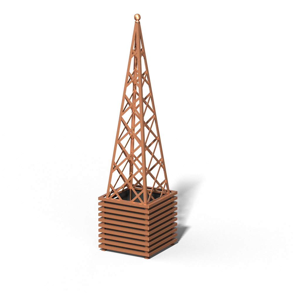 E23-PY-Y IBIZA Großer Pflanzkübel mit Pyramide Copper Light