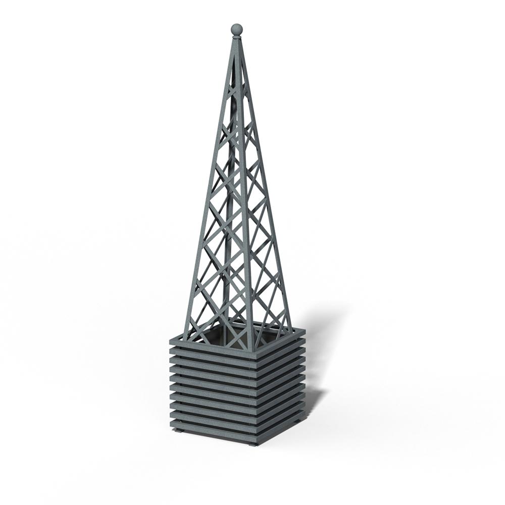 E23-PY-Y IBIZA Großer Pflanzkübel mit Pyramide DB 703 Metallic
