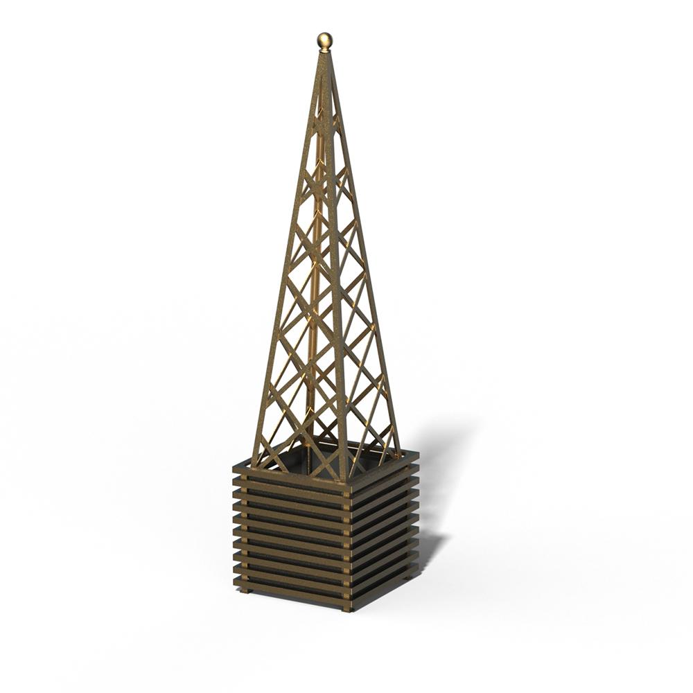E23-PY-Y IBIZA Großer Pflanzkübel mit Pyramide Kendon Gold