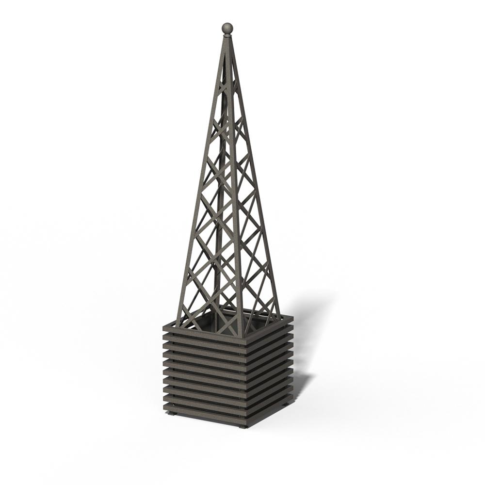 E23-PY-Y IBIZA Großer Pflanzkübel mit Pyramide Marrone 03 Metallic